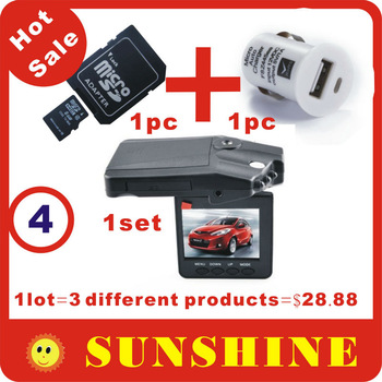Hot Sale H198 Car DVR Camera,1 lot=H198 1 set+8G TF card 1pc+mini USB Mobile car charger 1pc,3 different Products free shipping