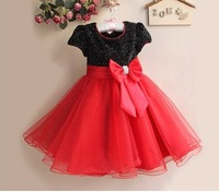Retail Free shipping  Children Girl Dress  Infant Dress With Bow Girl Formal Party Dress kids Clothing  3~8years