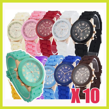 10PCS/lot Wholesale Geneva Soft Jelly Silicone Rubber Cute Gel Quartz Wrist Watch for Lady Women Girls Free Shipping Mint Green