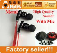 "Top Quality Sound!3.5mm ""L""Plug  in-ear earphone/headphone with mic+zipper case+8earplugs for Ipod/HTC/Samsung/Mp3/PC/Laptop ect"