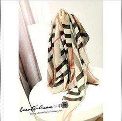 2014 Fashion New Women Plaid British Silk Scarf/Scarves Spring Ladies Yellow Soft Chiffon Scraf Hijab SF001(China (Mainland))