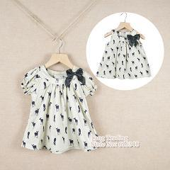 2013 summer bow girls dress deer dresses 100%cotton the dress kids pretty children clothing,Free Shipping,Wholesale and retail