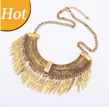Alloy Tassels Vintage Punk Leaf Gold Shorts Choker Collar Bib Statement Necklaces & Pendants 2014 New Jewelry Women Wholesale N5
