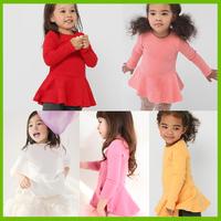 2015 new 5pcs/lot girls dress Beautiful cotton long sleeve children dress  kids Baby dress Wholesale free shipping
