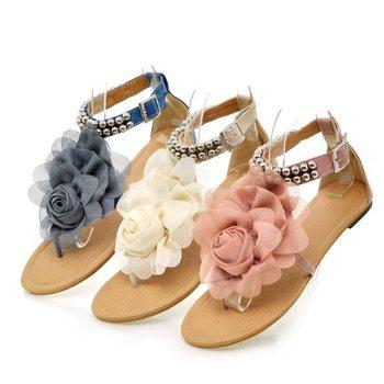 Big Size 34-43 2015 Gladiator Sandals for Women Female Beaded Flower FLat Summer Flip-flop flats Women's Shoes Bohemia Sandals