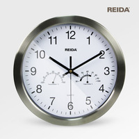 "Hot Sale REIDA Multifunctional Large Metal Wall Clocks Thermometer Hygrometer 12"" inch Mute Quartz Wall Clock Home Decoration"
