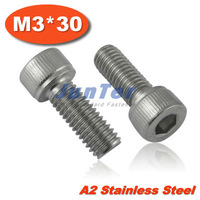 100pcs/lot DIN912 M3*30 Stainless Steel A2 Hex Socket Head Cap Screw