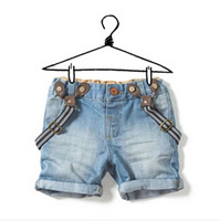 wd9 retail 1pc sell new 2014 kids denim overalls for boys jeans brand 2-8 age children shorts free shipping