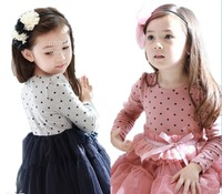 2014 spring girls clothing cotton 100% dot lace long-sleeve princess one-piece kawaii dresses novelty and bow dress GQ-104