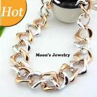 Hot CCB Punk Geometric Wave Gold Collar Chain Choker Statement Necklaces & Pendants 2014 New Fashion Jewelry Women Wholesale N7