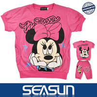 New arrival 2013 Reatil Kids Clothes 100% Cotton Children Minnie Clothing Sets baby girl Cartoon clothing suits