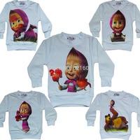 Hot 2015 New Retail Autumn Boys Girls Baby Clothes 1 ~ 9 Age Cute Cartoon T Shirt Kids Children Clothes Masha And Bear
