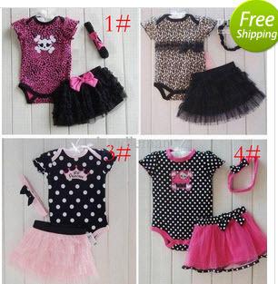 Hot Selling Summer Baby Clothing Set Romper+headband+tutu skirt sets Toddler Girls Cute 3pcs suit short sleeve bodysuit GB0010