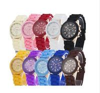 15 colors New Fashion Silicone GENEVA Watch For Women Dress Watch Quartz Watches 1pcs/lot