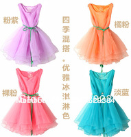 2014 New Summer Drop Shipping Women's Organza Simple Sweet Candy-colored Sleeveless Vest Puff Dress Women Clothing wholesale 318
