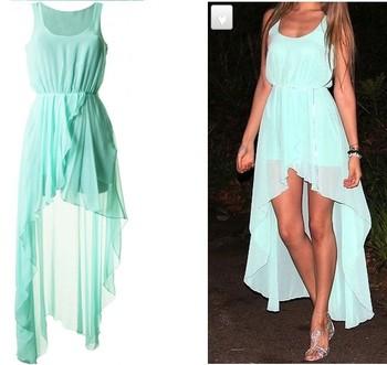 2013 New Fasion autumn dress, sarafan, Women chiffon dress long, novelty dress, mint green dress to the floor