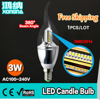 4 Pieces/Lot Free Shipping 3W LED Candle Bulb with SMD3014, 100~110 lm/W, AC85~265V, Warm White/ Cold White 2 Years Warranty