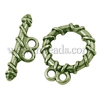 Tibetan Silver Toggle Clasp,  Lead Free,  Cadmium Free and Nickel Free,  Antique Bronze,  about 18mm long
