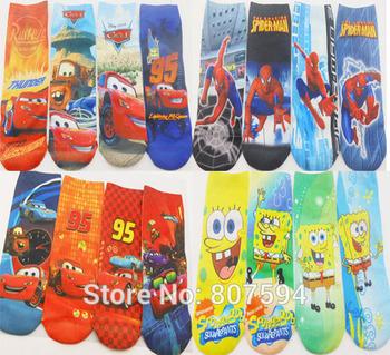 "12pairs/lot length18cm,7"" New kitty/mickie Cute Cartoon  girls boys Baby children's print ankle Normal Sneaker sock/socks"