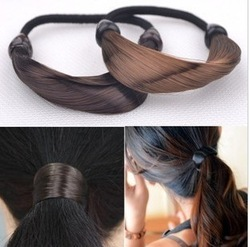 (Min Order Is $10,Can Mix Order)New Synthetic Fiber Hairpeice Ponytail Elastic Hair Rope/Holers Hairband 1pcs hair rings(China (Mainland))