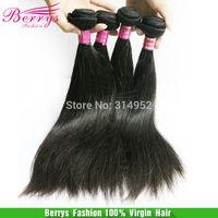 "Peruvian Virgin Hair straight wave Cheap Price Hair Extensions 4pcs/lot(8""-34"") soft natural color hair weaves Berrys Hair"
