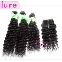 "1 Piece Lace Top Closure with 3Pcs Hair Bundle,4pcs/lot,Peruvian Virgin Hair Extension,Deep Wave 12""-30"" Free shipping"