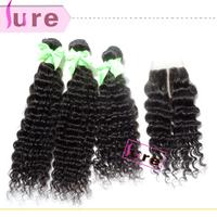 Peruvian virgin deep curly hair with closure,3 bundles with closure middle part, curly hair with closure