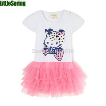 summer New Design Baby Girl little cat Girl cute dress kids Children tutu princess dress ELZ-Q0014