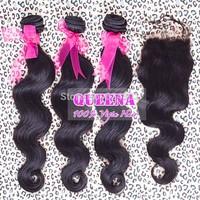 brazilian virgin hair body wave 1 piece lace closure with 3pcs hair bundles,free part brazilian hair closure natural color