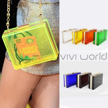 2014 fashion handbag, six candy color acrylic transparent gold clutches, famous brand evening bag/ clutch bag/ party bags