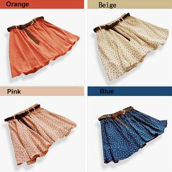 Горячая распродажа 4 цвета плиссированные цветочные шифон женщины женщины симпатичные мини-юбки пояс включите 2015 большое продвижение по службе WF-029