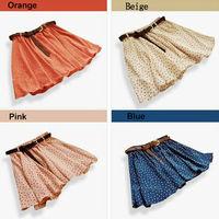 Hot Sale 4 Colors Pleated Floral Chiffon Women Ladies Cute Mini Skirt Belt Include 2014 Big promotion WF-029