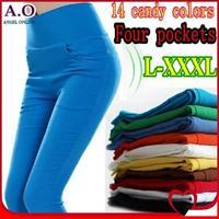 New 2014 Spring summer 20 candy colors high waist pants & capris women stretchy pencil pants Plus size leggings L-XL-XXL-XXXL