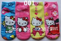 Free Shipping Cartoon Design Hello Kitty Print Socks for Girls, 12 Pairs/ Lot (Only ONE Design), Children Sports Socks 001