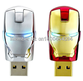 Wholesale Hot sale Fashion Avengers Iron Man LED Flash  usb flash drive 2GB 4GB 8GB 16GB 32GB 64GB USB Flash 2.0 Memory Drive