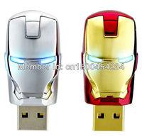 Wholesale Hot sale Fashion Avengers Iron Man LED Flash  usb flash drive 2GB 4GB 8GB 16GB 32GB 64GB USB Flash 2.0 Memory Drive