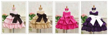 Pretty girls dress/Four colors baby princess dress with big bowknot/Baby wedding dress