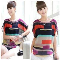 S -XL Women Striped chiffon blouse Multi-colour print shirts lady fashion plus Loose Short Sleeve casual blusas tops blouse