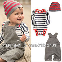2014 new arrival boys clothes, children's wear overalls suit Romper + Baby + Free Shipping first 3PCS/SET