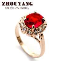 ZYR190 Red Crystal Ring 18K K Gold Plated Made with Genuine Austrian Crystals Full Sizes Wholesale