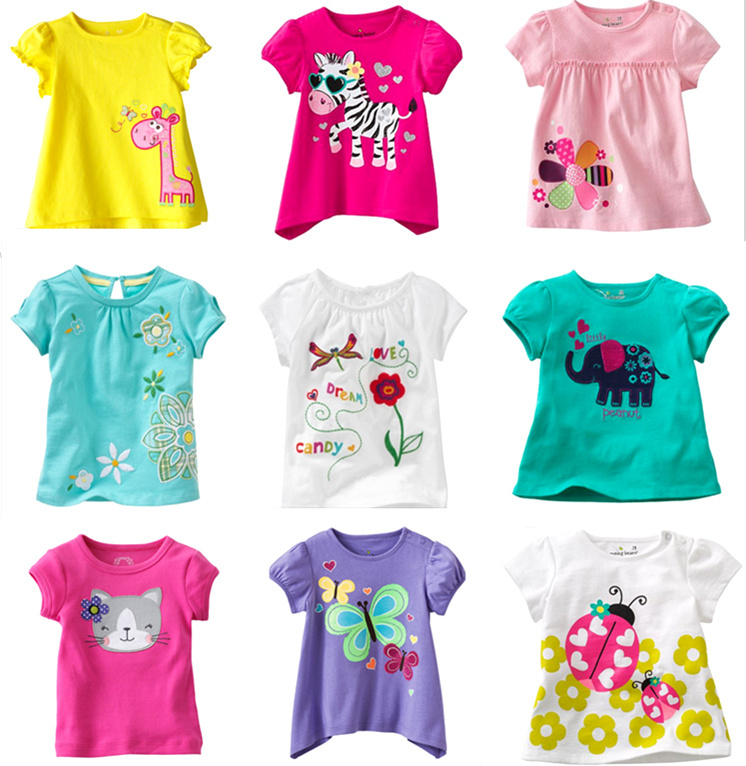 Retail Brand 2015New babyKids Girls Tshirt Child Clothing Childrens Tops Summer Clothes Short Sleeve Tee blouse shirts Cartoon(China (Mainland))