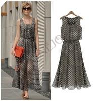 New Arrival Elegant Women's Spring Long Chiffon Polka Dot Sleeveless Maxi Dresses S/M/L/XL/XXL B11 SV003488