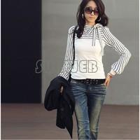 Women's New o Neck Stripes Long Sleeve Cotton Casual Tops T-Shirt Plus size S,M,L,XL 3544
