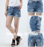 New 4XL Sexy Women's Denim Shorts/Fashion Ladies' Short Jeans/big size waist 95cm 4XL~8XL rose Cuffs Plus Big size Shorts Summer