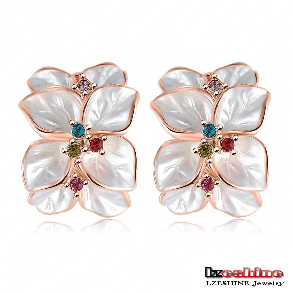 Wedding Jewelry Women Earrings Bijoux 18K Rose Gold Plate Genuine SWA Elements Austrian Crystal Enamel Flower Earring ER0099(China (Mainland))