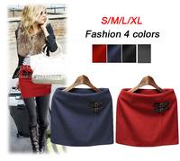 Hot Sale / 2014 autumn winter skirts female pencil skirt women plus size woolen short skirt saias ,S/M/L/XL  Free shipping