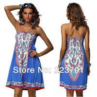 Fashion Retro Vintage Paisley Hippie Boho Summer Beach Dress Women Casual Strapless  Printed Dress For Women