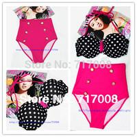 new 2015  hot selling  Fashion female vintage high waist  women polka dot pink beach swimsuit  biquini  bikini swimwear roupas