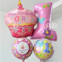Free shipping 4pcs/set Large Anagram foil aluminum  balloon A First Birthday Balloon party Decoration kids toy pink and blue