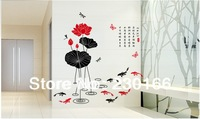 Hot Selling Chinese Painting Lotus Flower Vinyl Wall Decal Art DIY Home Decor Chinese Style Wall Stickers 60x90cm E2013005